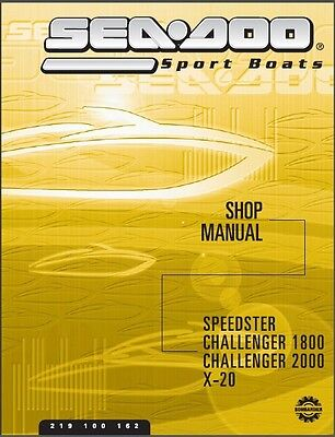 01-02 Sea-Doo Speedster Challenger X-20 Jet Boat Service Shop Manual CD - Seadoo