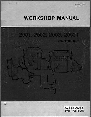 Volvo Penta 2001 2002 2003 2003T Marine Engines Service Manual on a CD