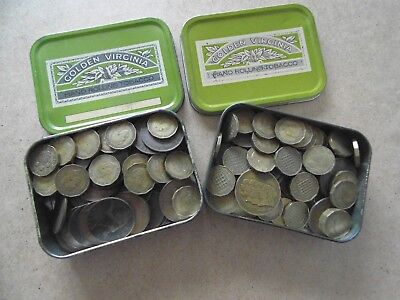 job lot of old british coins in 2 tins victoria to elizabeth