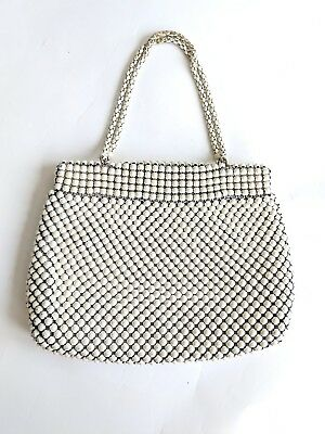 Vintage 1940s Whiting and Davis Co Alumesh metal white evening purse small
