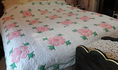 Handmade Vintage Shabby Cottage Quilt, Pink Flowers, Hand Sewn, NEED A SALE