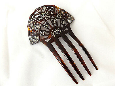 Beautful Antique 1920's Art Deco Faux Tortoiseshell Spanish Style Hair Comb.
