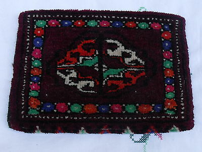 Antique original Turkman rug purse bag handmade Persian wool Turkoman carpet