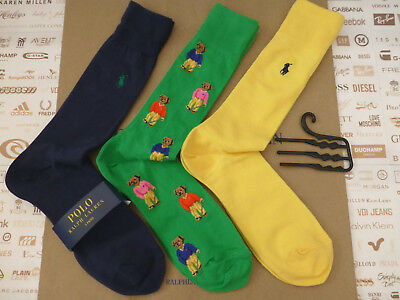 POLO RALPH LAUREN Exquisite Sock Novelty Bear Asstd Cotton Socks 3 pk BNIP  RP£ 3425af16e0b7