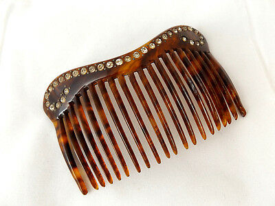 Beautful Antique Vintage 1920's Art Deco Faux Tortoiseshell Rhinestone Hair Comb