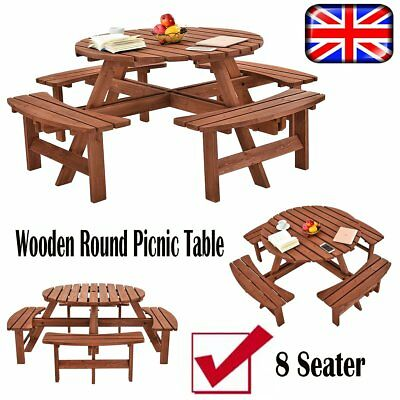 SEATER ROUND Picnic Table Wooden Bench Pub Garden Seating - 8 seater round picnic table