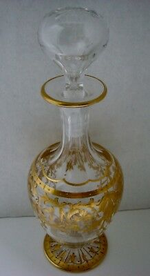 """9"""" Antique 19Th Century Glass Perfume Decanter Bottle W Applied Gold Gilt"""