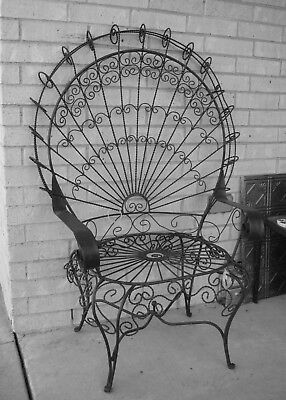 Vintage PEACOCK Twisted Scroll Wrought Iron Chair – Good Condition!