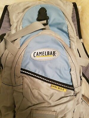 Camelbak Mini Mule Hydration Pack Backpack WITH Bladder - Light Blue & Gray