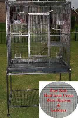 Large 3 Level WROUGHT IRON Animal Cage With 1/2 Inch Cross Shelves & Ladders-482
