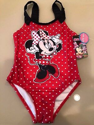 NWT GIRL'S - SIZE 5T DISNEY MINNIE MOUSE SWIMSUIT Red w/White Polka Dots -Sweet!