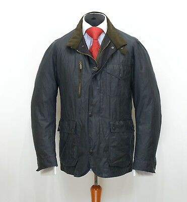 Mens Barbour Kenmore Wax Jacket Navy Size L