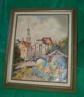Vtg Oil Painting Fran True Old Village Cathedral Convent Flower Garden Art Study