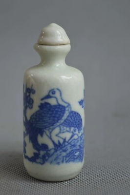 Collection Handwork Decor Porcelain Paint Crane Auspicious Elegant Snuff Bottle