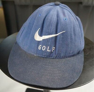 Rare Vintage NIKE Golf Swoosh Spell Out Golfers Strapback Hat Cap 90s Navy  Blue 510b2cdb507a