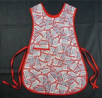 Rare Vintage BUDWEISER All Over Can Label Print Apron 80s Cooking Kitchen Beer