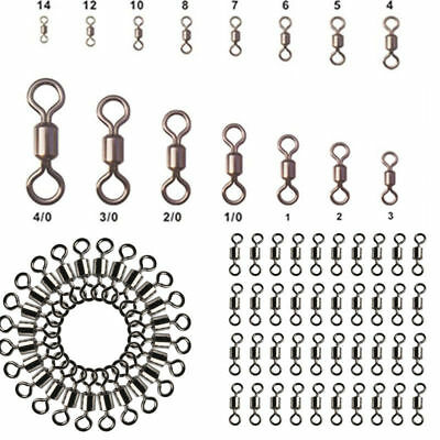 Lots 100Pcs Fishing Barrel Bearing Swivel Stainless Steel Solid Ring Connector N