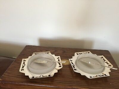 Lovely Pair Of Silver Plated Pierced Handled And Glass Butter/preserve Dishes