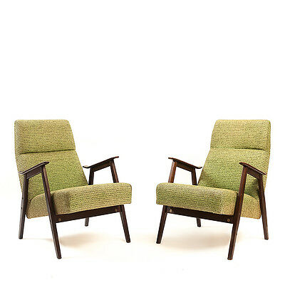 Set of 1970's Retro Designer Chair - yellow/green and wood chair