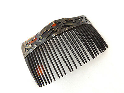 Beautful Antique 1920's Art Deco Faux Tortoiseshell Silver Decorated Hair Comb.