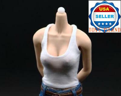"""1/6 Scale White Tank Top For 12"""" Phicen Hot Toys Verycool Female Figure ❶USA❶"""