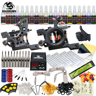 Professional Tattoo Kit 2 Machine Gun 20 Color Inks Power Supply Complete