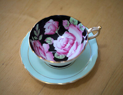 Paragon Fine Bone China Tea Cup and Saucer By Appointment Roses on Black