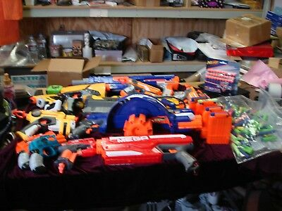 Large Lot Of Nerf Guns and Amo and Clips LOOK