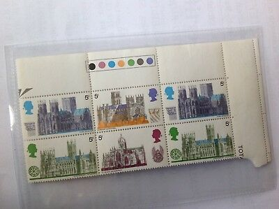 1960s unused 6 x UK cathedrals 5d stamps with edging & traffic lights