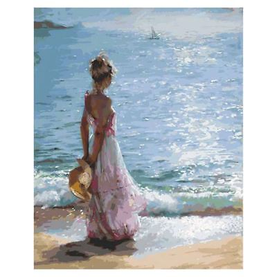 Girl DIY Oil Painting Paint By Number Kit-Facing the Sea 16x20 Inch (Framel R8V1