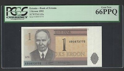 Estonia One Kroon 1992 P69a Uncirculated Graded 66