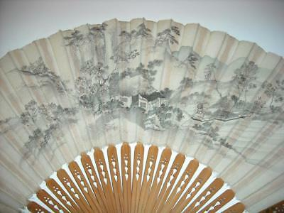 Large Antique or Vintage Hand Painted Silk Japanese Fan