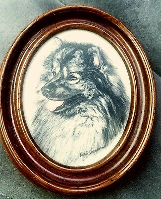Antique Marvetti Cultured Marble Engraving by Earl Sherman Husky Wall Art Framed