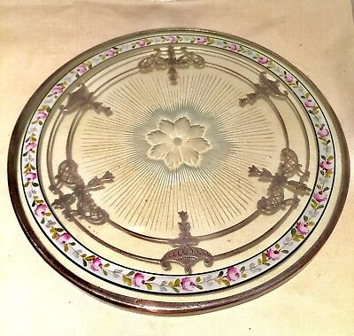 """Antique 8"""" Sterling Silver Overlay Etched Glass Trivet Painted Rose Boarder 20s"""