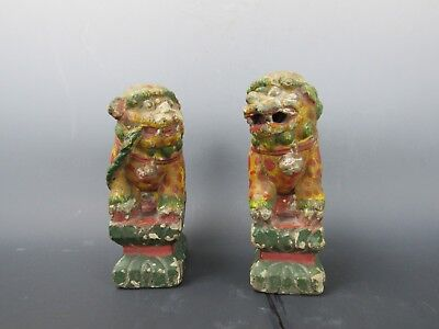 Two Chinese Antique Terracotta Foo Dog/Lion Statue Sculptures painted colorful