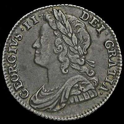 1741 George II Early Milled Silver Sixpence