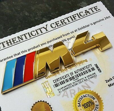 24ct Gold Plated BMW M5 Rear Boot Car Badge Emblem 5 Series Back Logo Decal 24k