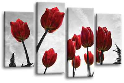 FLORAL WALL ART Picture Red White Flower Painting Split