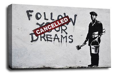 Abstract Banksy Art Canvas Picture Cancelled Dreams Graffiti Love Peace Wall