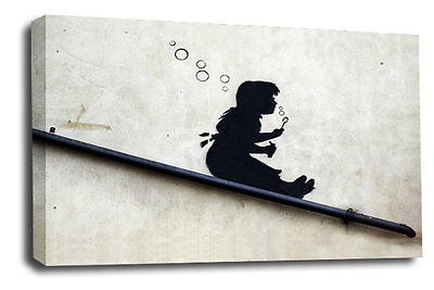 Banksy Abstract Art Picture Bubble Girl Swing Balloon Graffiti Wall Canvas