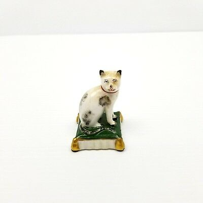 Royal Copenhagen 28 Foreign Cat w/ Green Gold Stand Porcelain Rare Antique