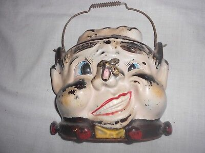 Rare Vintage Silly Man w/Bee On His Nose Wall Pocket w/ Wire Handle Flower