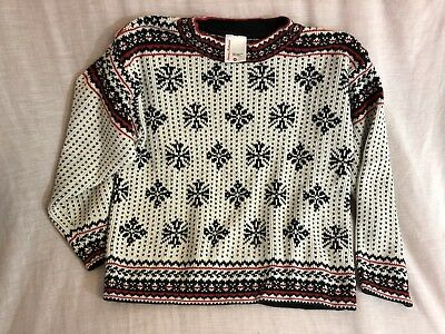 Hanna Andersson Kids Black Red Fair Isle Nordic Jumper Sweater 130, 8 Years