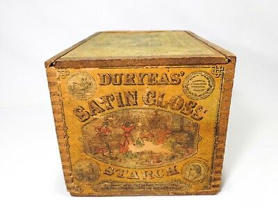 Late 19Th C 'duryeas' Satin Gloss Starch Wooden Box Crate, W/slotted Wooden Lid