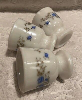 Vintage-RETRO JG Durand Arcopal; HTF ROMANTIQUE Pattern 3-Matching Egg-Cups