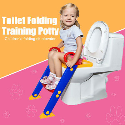 Kid Training Toilet Potty Trainer Seat Chair Toddler W/ Ladder Step Up Stool