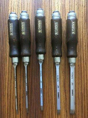 Lee Valley - Narex Mortise Chisel Set True Imperial 1/8 3/16 1/4 3/8 & 1/2-inch