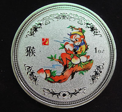 Chinese Lunar Zodiac Year of the monkey  Colored Silver Coin——40mm