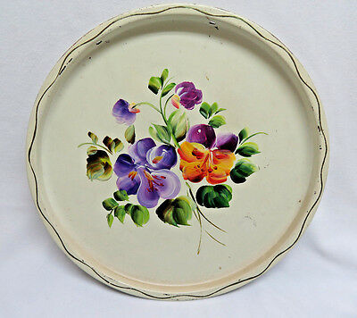 "Vintage Hand Painted Round White 11"" Metal Tole Tray  rb14"