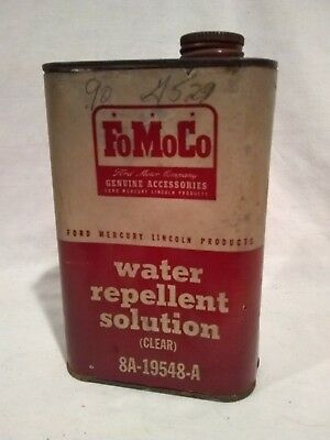 Rare Vintage 1950's Ford FoMoCo Water Repellent Solution Tin Can Lincoln Mercury